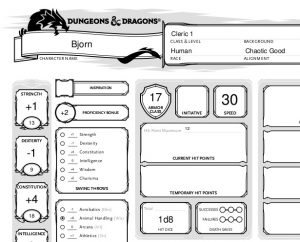 Dungeons and Dragons Cleric Tutorial, Birth of Bjorn   Table