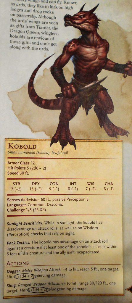 Kobold damage results monster manual page 195.