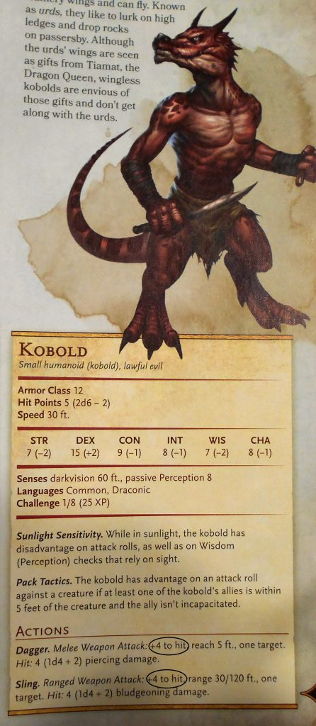 Kobold to hit bonus monster manual page 195