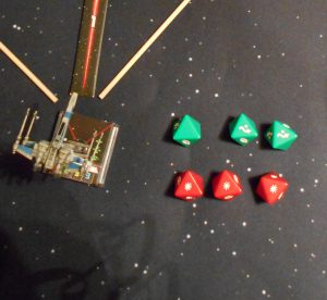 Jim scores 3 hits and the tie fighter dodges 2 of the hits.